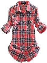 OCHENTA Women's Mid Long Style Roll Up Sleeve Plaid Flannel Shirt Label 8XL