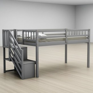 Harriet Bee Ever Twin Low Loft Bed Bed Frame Color: Gray