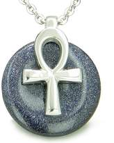 BestAmulets All Powers of Life Ankh Magic Amulet Blue Goldstone Lucky Donut Pendant 18 Inch Necklace