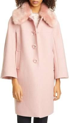 Kate Spade Metallic Wool Blend Twill Coat With Detachable Faux Fur Collar