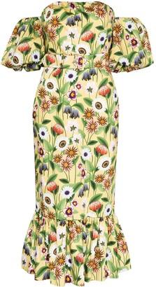 Borgo de Nor Aleila off the shoulder floral print cotton midi dress