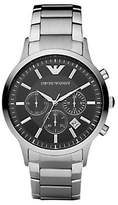 Emporio Armani Men's Black Dial with Stainless Steel Bracelet Watch