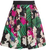 Mary Katrantzou Algernon Printed Silk And Cotton-blend Mini Skirt - Green