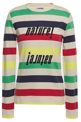Ganni Nature! Striped Cotton-jersey Top