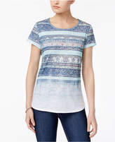 Style&Co. Style & Co Faded-Print T-Shirt, Only at Macy's