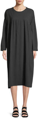 eskandar Crewneck Long-Sleeve Pima Cotton Jersey T-Shirt Dress w/ Pleated Front Panel