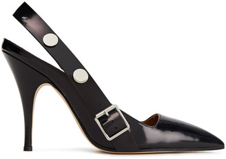 Victoria Beckham Dorothy Studded Patent-leather Slingback Pumps