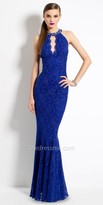 Camille La Vie Beaded Cleo Collar Lace Evening Dress