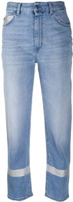 Just Cavalli Embroidered Trim High-Waisted Cropped Jeans