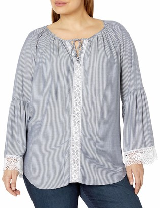 Karen Kane Women's Plus Size Lace-Sleeve Peasant Top