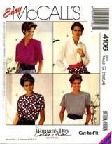Mccall's MISSES BLOUSES SIZE 10-12-14 EASY MCCALLS WOMAN'S DAY COLLECTION CUT-TO-FIT PATTERN 4106