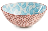 Certified International Chelsea Collection Red Beehive/Aqua Oval Bowl
