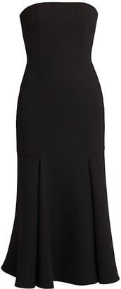 Valentino Strapless Wool-Blend Midi Dress