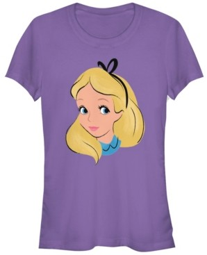 Fifth Sun Women's Alice in Wonderland Big Face Short Sleeve T-shirt