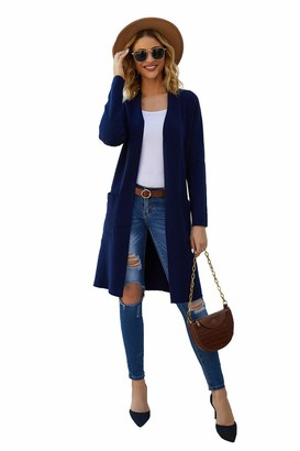Plumberry Long Sleeve Open Front Knit Sweater Cardigan for Women with Pockets