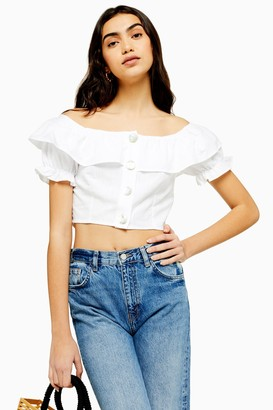 Topshop Womens Ivory Bardot Button Through Bardot Top - Ivory