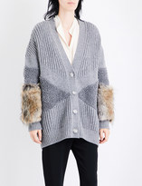 Stella McCartney Faux-fur trim wool cardigan