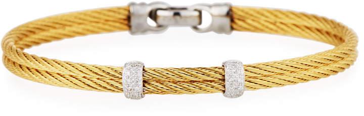 Alor Classique Stainless Steel & Diamond Cable Two-Row Bangle Bracelet