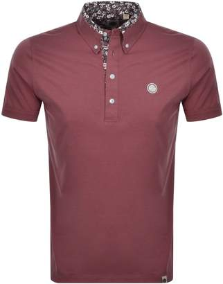Pretty Green Floral Collar Polo T Shirt Red