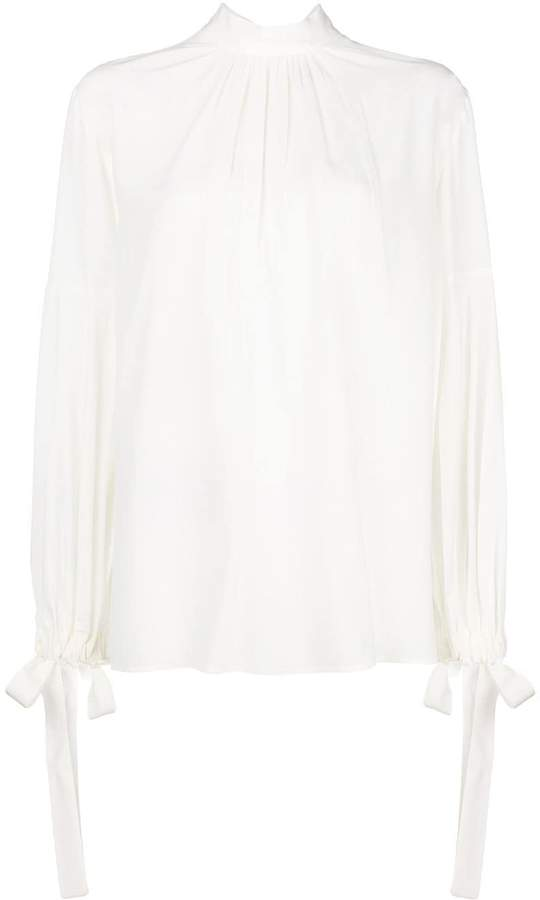 Prada pleated pussy bow blouse