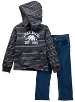 Lucky Brand Striped Pullover Hoodie Jean Set (Toddler Boys)