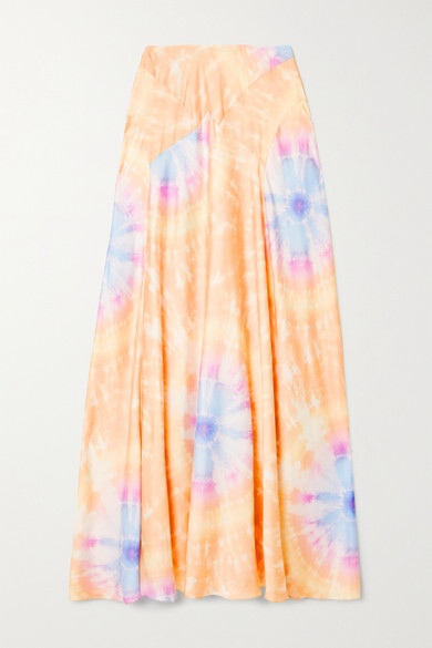 Thumbnail for your product : Paco Rabanne Tie-dyed Satin Maxi Skirt - Cream