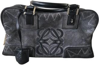 Loewe Amazona Grey Suede Handbags