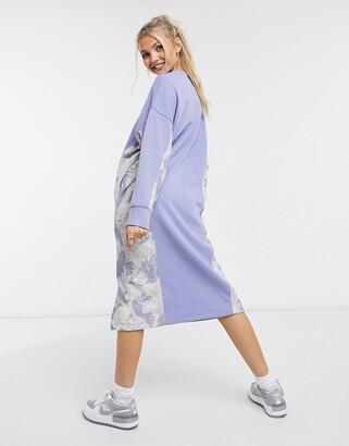 Monki Coba organic blend cotton knitted side print midi dress in light blue