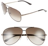 Salvatore Ferragamo Men's 60Mm Aviator Sunglasses - Shiny Brown/ Dark Brown
