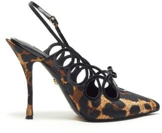 Dolce & Gabbana Lori Leopard-jacquard Slingback Pumps - Leopard
