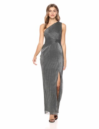 Adrianna Papell Women's One Shoulder Long Side Slit Metallic Chainmail Column Dress