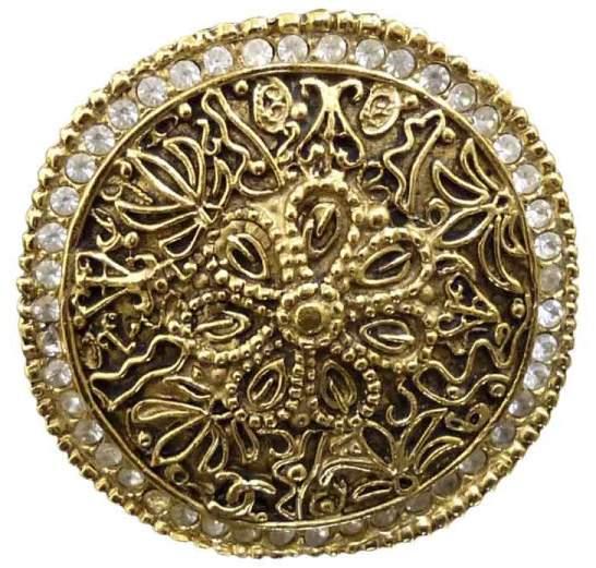 Chanel Gold-Tone Rhinestones Pin Brooch