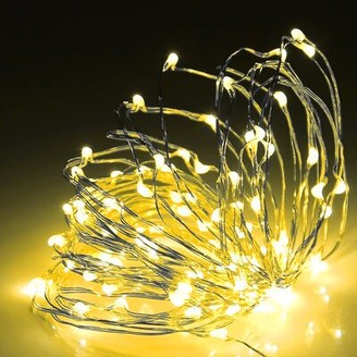The Party Aisle 98' Outdoor LED 300 - Bulb Fairy String Light Cord Color: Warm White