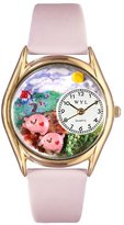 Whimsical Watches Kids' C0110002 Classic Gold Pigs Pink Leather And Goldtone Watch