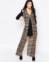 Liquorish Shift Dress With Printed Maxi Overlay In Striped Animal Print