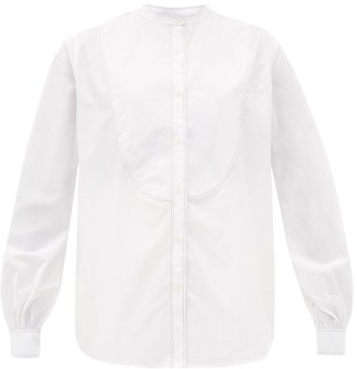 Officine Generale Joana Topstitched-bib Cotton-poplin Shirt - Womens - White