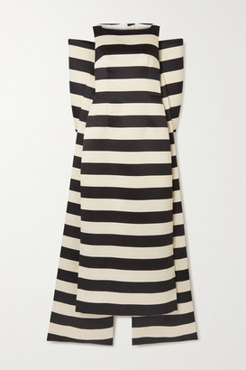 Emilia Wickstead Cruz Bow-detailed Striped Taffeta Gown - Black