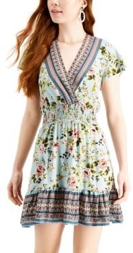 BeBop Juniors' Mixed-Print Surplice Dress
