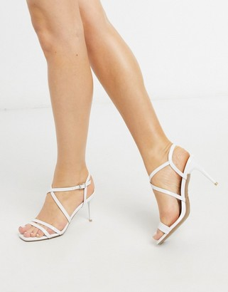 New Look strappy leather look stilettos in white
