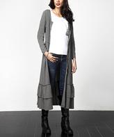 Charcoal Button-Front Ruffle-Hem Maxi Sweater Cardigan