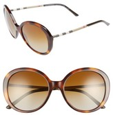Burberry Women's 57Mm Check Temple Polarized Round Frame Sunglasses - Blonde