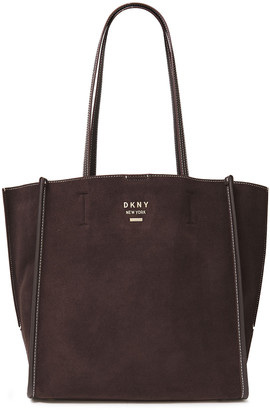 DKNY Allen Leather-trimmed Suede Tote