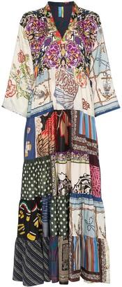 RIANNA + NINA multi floral polka dot print silk V-neck kaftan dress