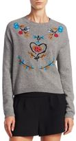 RED Valentino Wool Embroidered Slate Sweater