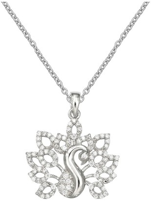 """Distributed By Target Women' Peacock Pendant with Pave Cubic Zirconia in terling ilver - ilver/Clear (18"""")"""