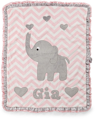 Boogie Baby Personalized Big Foot Elephant Plush Blanket, Pink