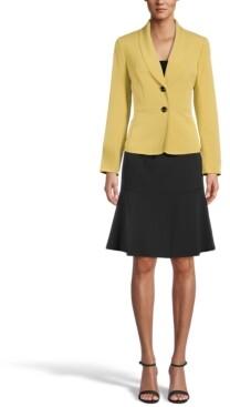 Le Suit Shawl-Collar Flounce-Skirt Suit