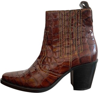 Ganni Brown Leather Ankle boots