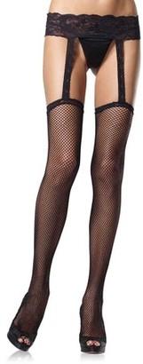 Leg Avenue Lace and Fishnet Garter Belt Stocking 1656QLEG_BL Black