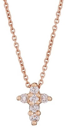Roberto Coin Tiny Treasures Diamond & 18K Rose Gold Baby Cross Pendant Necklace